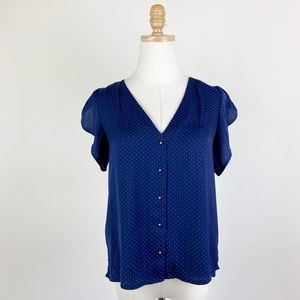 H&M Blue Dotted Flutter Sleeve Button-Up Blouse